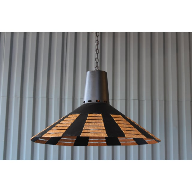 Black Metal Saucer Light With Rattan Detail, France, 1960s For Sale - Image 8 of 9