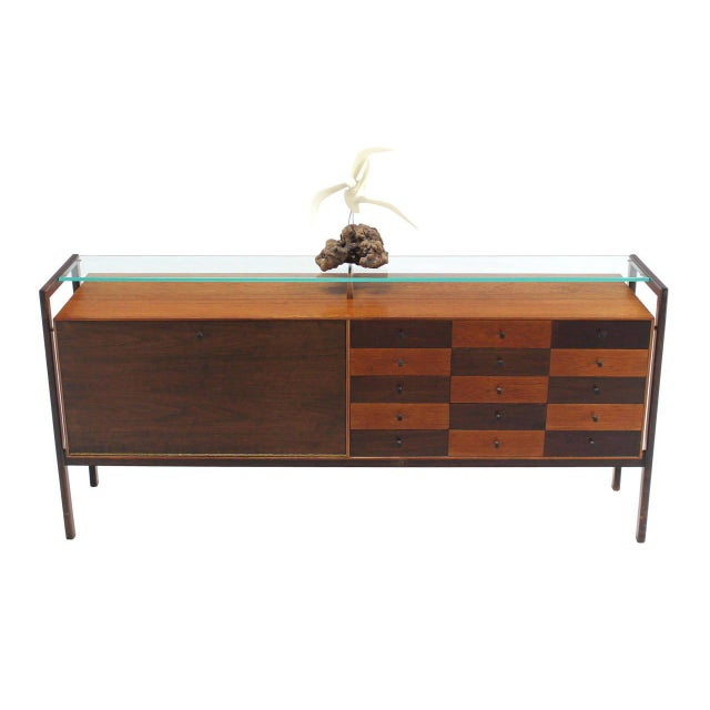 Mid-Century Modern Multi Drawer Drop Front Bar Compartment Glass Shelf Top Long Dresser Checker For Sale - Image 3 of 9