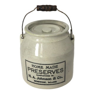 Antique Boston Stoneware Preserves Crock For Sale