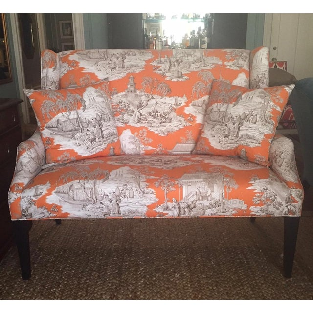Textile Custom Manuel Canovas Settee For Sale - Image 7 of 7