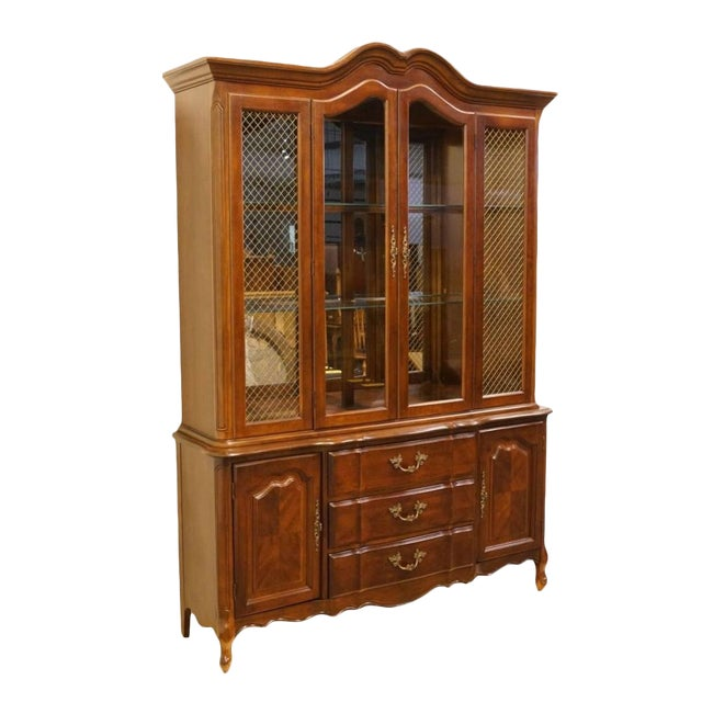 20th Century French Provincial Bernhardt Furniture Lighted China Cabinet For Sale