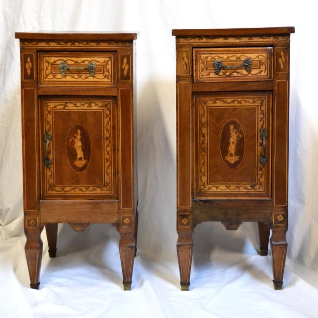 Brown Italian Neoclassical Style Inlaid 19th Century Walnut Side Tables - A Pair For Sale - Image 8 of 8