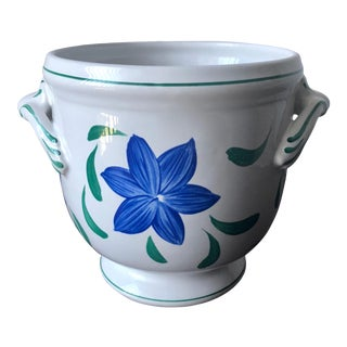 Hand-Painted Faience Cachepot-Rb Bernarda-Portugal For Sale