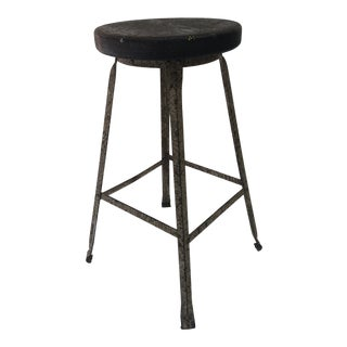 Vintage Industrial Steel Drafting Stool With Wood Seat For Sale