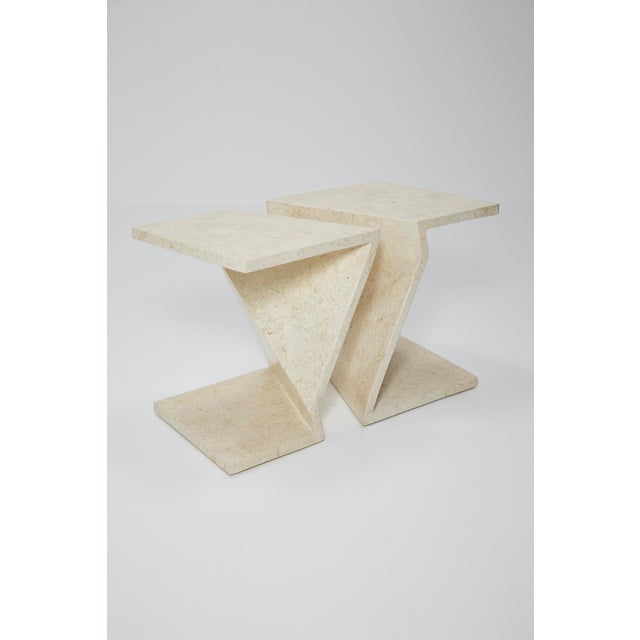 Set of two zig zag tables that can be used either as side tables or put together as a cocktail table. Tables are executed...