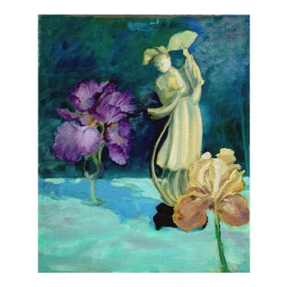 Quin Yin Statue and Irises Oil Painting