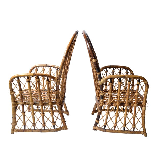 Rattan & Bamboo Dining Chairs - A Pair For Sale In Miami - Image 6 of 10