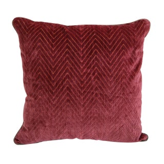 "Scalamandré Red ""Fire Stitch"" Velvet Pillow For Sale"