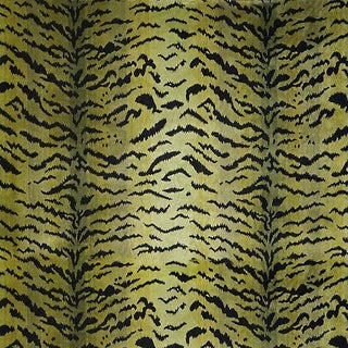 Sample, Scalamandre Tigre, Greens & Black Fabric For Sale