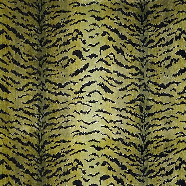 Sample, Scalamandre Tigre, Greens & Black Fabric For Sale