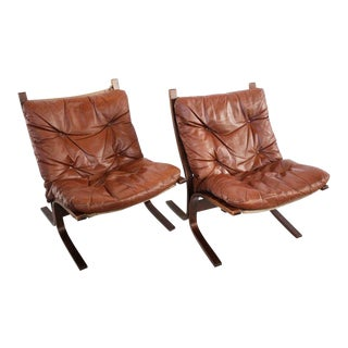 1960s Mid-Century Modern Leather Siesta Chairs - a Pair
