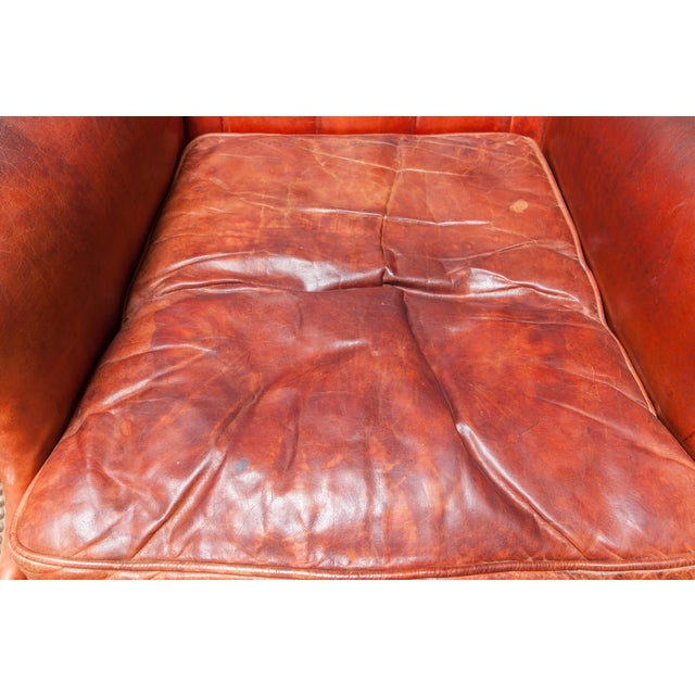 English Cigar Leather Tufted Wing Chairs - Pair - Image 6 of 10
