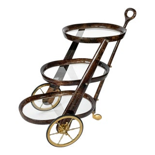 Aldo Tura Goatskin Three Tier Bar Cart Trolley For Sale