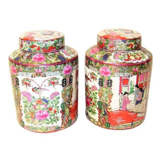 Cantonese Famille Rose Lidded Ginger Jars - a Pair For Sale