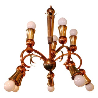 Brass and Copper Chandelier