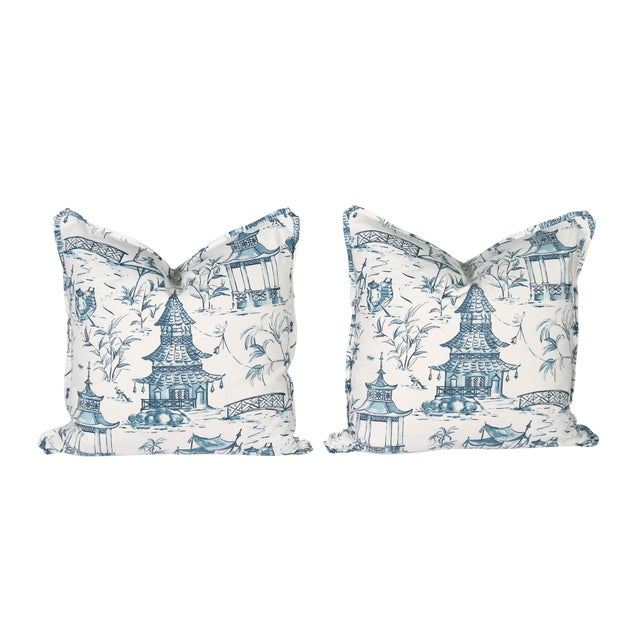 Blue & White Pagoda Pillows - A Pair For Sale