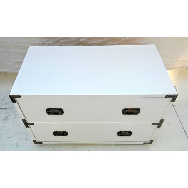 Small Campaign Dresser Side Table For Sale - Image 4 of 9