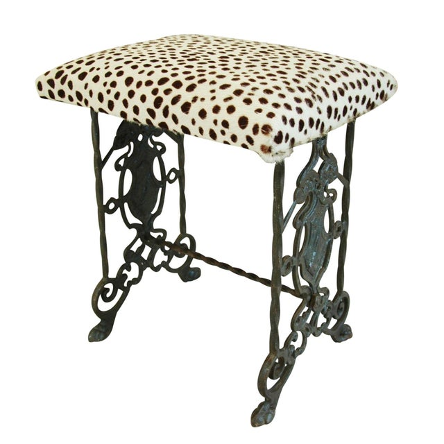 1930s Iron & Cheetah Spotted Cowhide Bench - Image 1 of 11