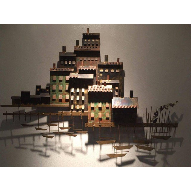 1970s Signed Curtis Jere Brutalist Wall Sculpture Village, Marina and Sailboats, 1970s For Sale - Image 5 of 8