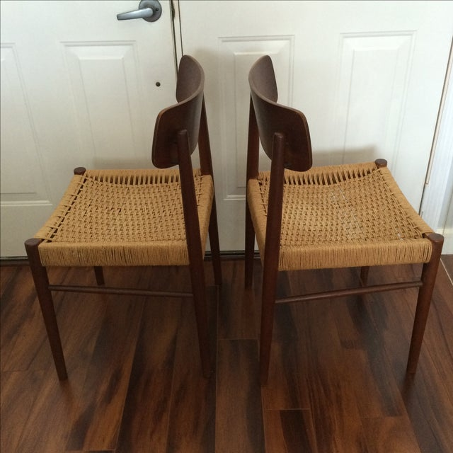 Vintage Danish Modern Rope Seat Chairs - A Pair - Image 3 of 6