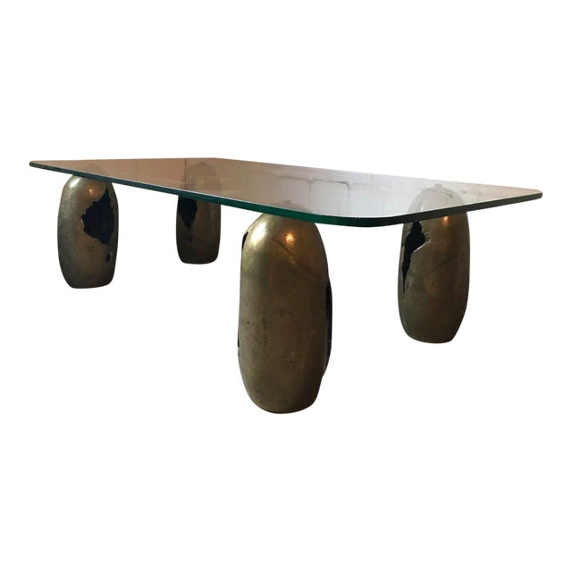 Bronze Sculpture Coffee Table. France, 1970s For Sale
