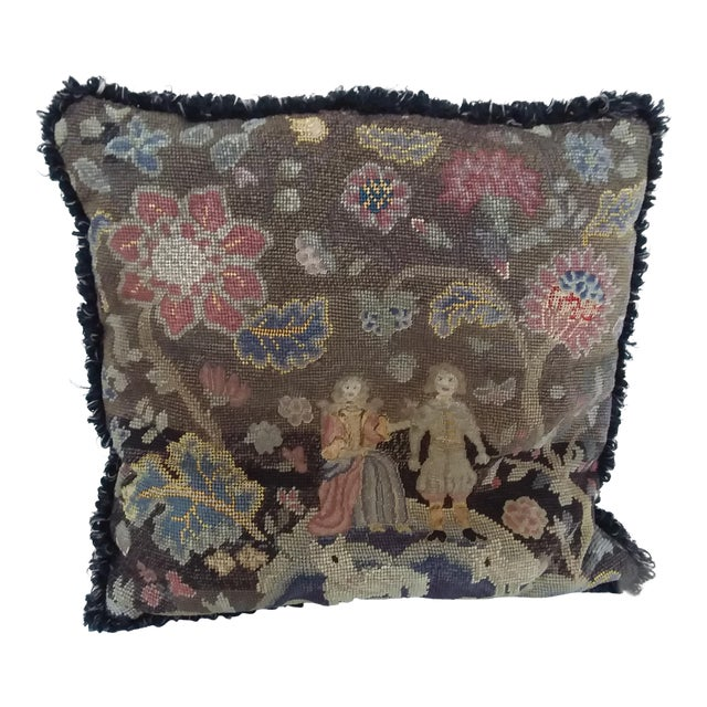 Antique Early American Needlepoint Pillow For Sale