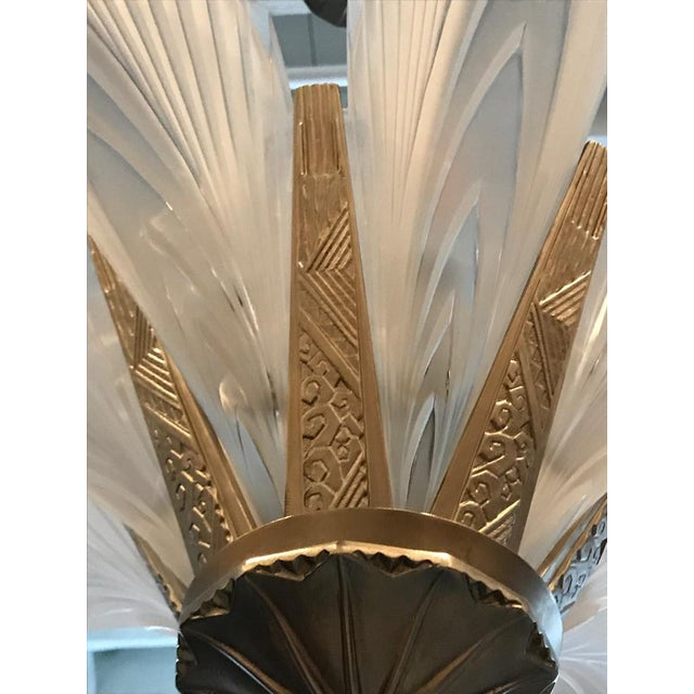 """Early 20th Century French Art Deco """"Feather"""" Chandelier For Sale - Image 5 of 13"""