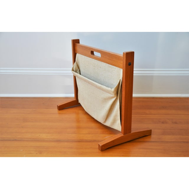 Beige Brdr Furdo Danish Modern Teak and Linen Double Magazine Rack For Sale - Image 8 of 12