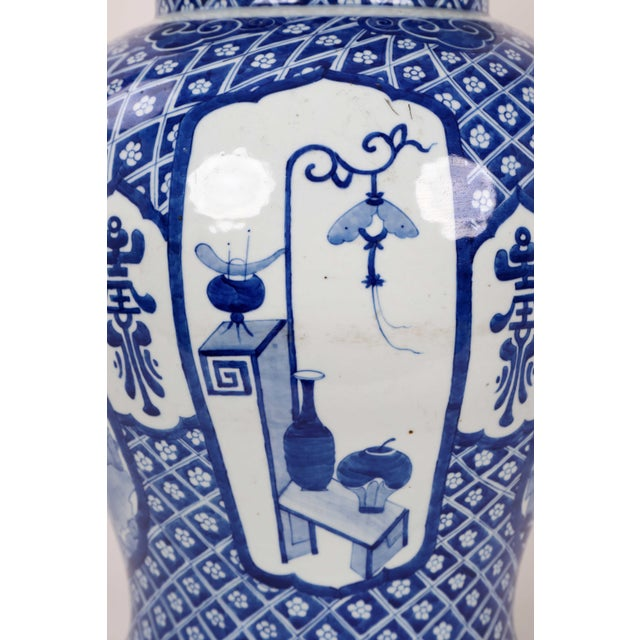 Early 20th Century Vintage Blue White Temple Jar For Sale In New York - Image 6 of 13