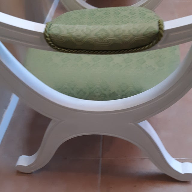 Wood Drexel Hollywood Regency Style White Painted Drexel Chairs- a Pair For Sale - Image 7 of 10