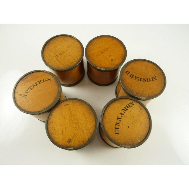 Antique Wood Spice Boxes Set of Six Containers Manufactured by Patent Package Co Allspice Cinnamon Ginger For Sale - Image 6 of 11
