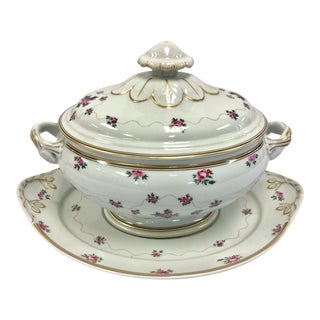 Mottahedeh Porcelain Soup Tureen With Underplate For Sale