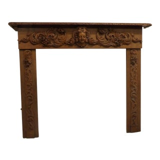Antique Exceptional Carved Mantel With Figure Head Center For Sale