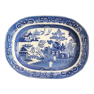 19th-C Large Staffordshire Blue Willow Platter