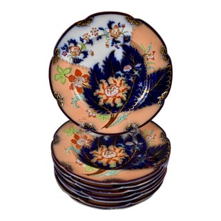 Mid 19th C. John Ridgway English Chinoiserie Style Imari Floral Plates, S/8 For Sale
