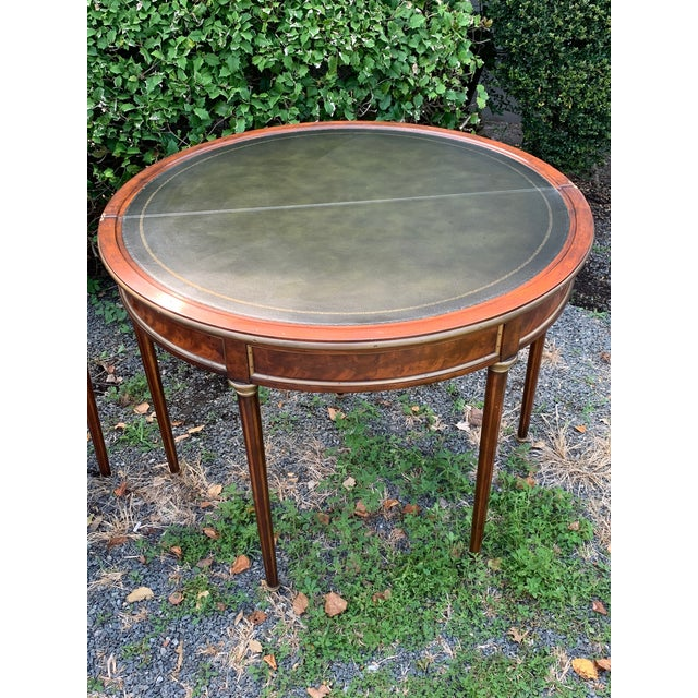 Crotch Mahogany Demilune Game Tables -A Pair For Sale - Image 12 of 13