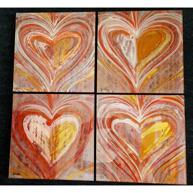 Christopher Martin Heart Paintings - Set of 4 - Image 2 of 10