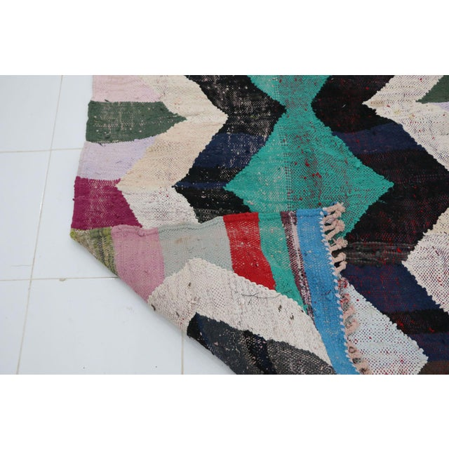 "1990s Kilim Boucherouite Moroccan Kilim, 3'10"" X 7'7"" Feet For Sale - Image 5 of 6"