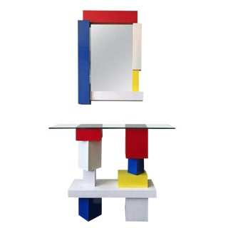 De Stijl Mondrian Style Console Table and Mirror, Signed, 1994 For Sale