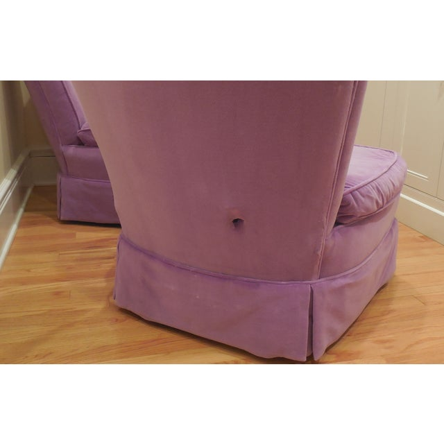 Lilac Velvet Vintage Chairs - A Pair For Sale - Image 7 of 8