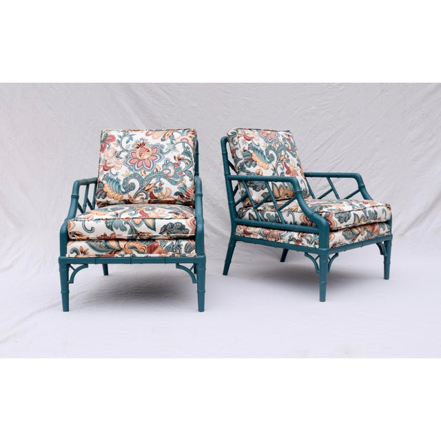 T.H. Robsjohn Gibbings Faux Bamboo Chinese Chippendale Lounge Chairs For Sale - Image 4 of 13