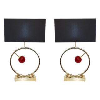Contemporary Italian Brass & Red Murano Glass Console Lamps - a Pair For Sale