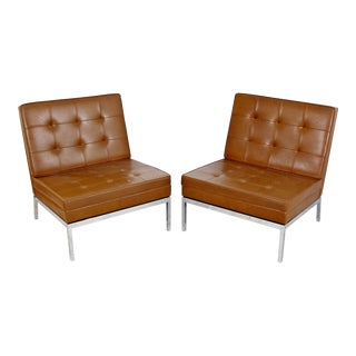 1960s Mid-Century Modern Florence Knoll Brown Leather Siipper Chairs - a Pair For Sale