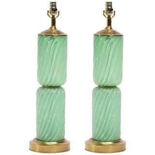 Pair of Balboa Sea Foam Green Murano Lamps For Sale