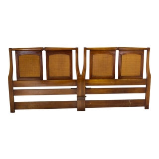 Mid-Century Walnut & Cane Headboard For Sale