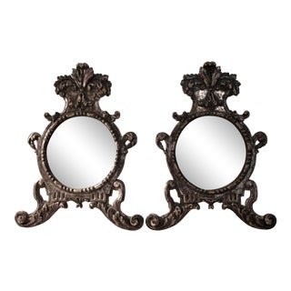 19th C. Italian Silver-Gilt Crested Baroque Wall Mirrors, a Pair For Sale