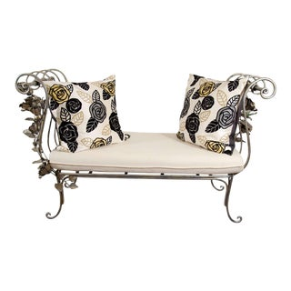Vintage Hand Wrought Floral Iron Bench For Sale
