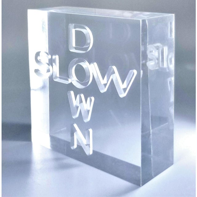 """1960s Pop Art 1960s Lucite Sculpture With Engraved """"Slow Down"""" Text For Sale - Image 5 of 13"""