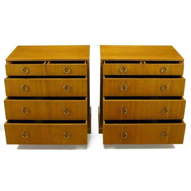 Brass Rare Pair of 1940s Edward Wormley for Dunbar Ribbon Mahogany Chests For Sale - Image 7 of 9