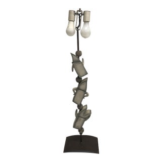 Vintage Mid Century Modern Figural Table Lamp With Iron Base For Sale